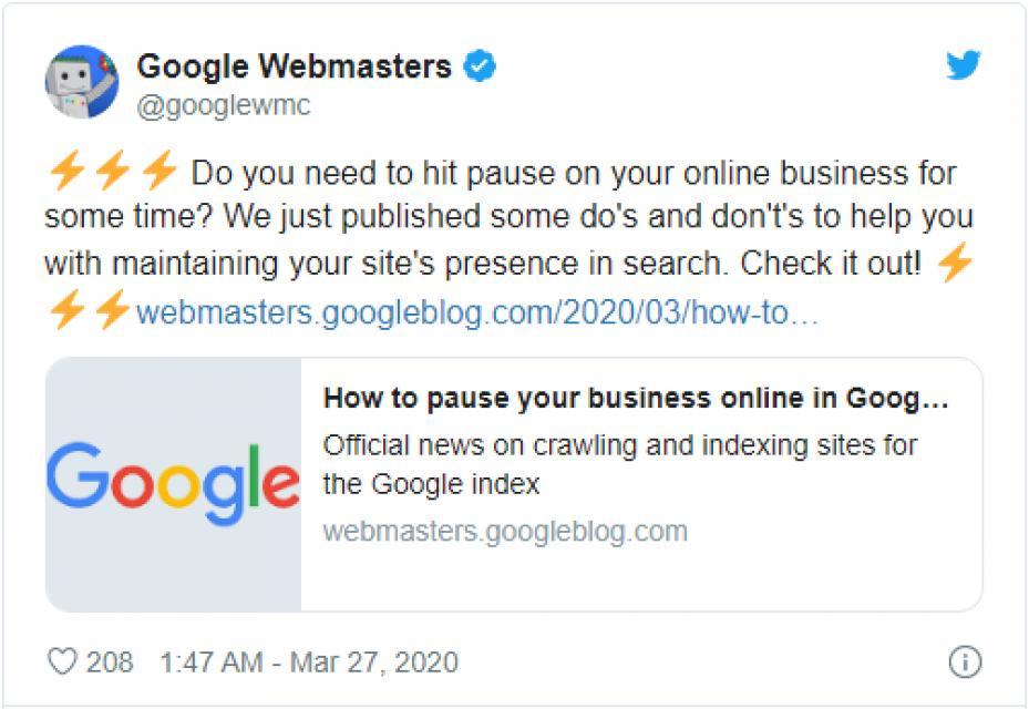 谷歌搜索通告:疫情期间不要关站会影响网站排名